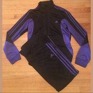 Adidas track suit black and purple